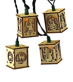Kurt Adler 10-Light Wooden Lantern Light Set