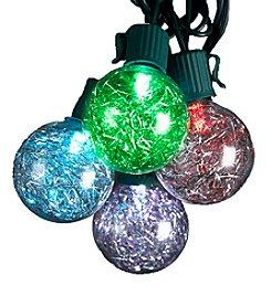 Kurt Adler 10-Light Silver Tinsel Balls LED Light Set