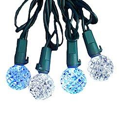 Kurt Adler 25-Light LED White and Blue Diamond Cut Light Set
