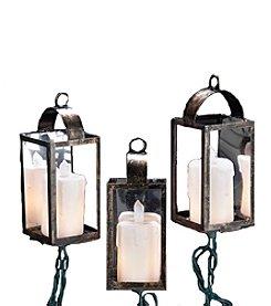 Kurt Adler 10-Light Brass Lantern with Candles Light Set