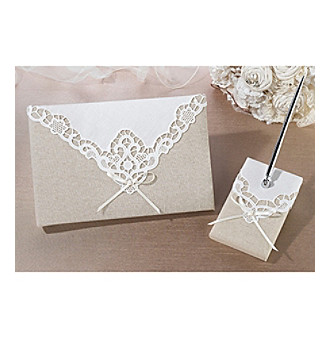 Lillian Rose® Country Lace Guestbook and Pen Set