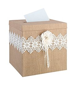 Lillian Rose® Burlap and Lace Card Box