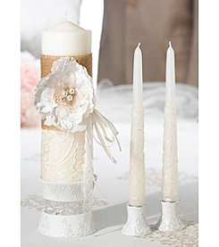 Lillian Rose® Burlap and Lace Candle Set
