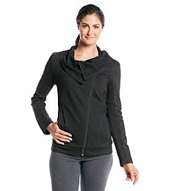 Exertek® Petites' Solid Rib Trim Moto Jacket