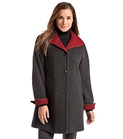 Ellen Tracy® Wing Collar Walker Jacket With Contrasting Collar