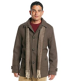 London Fog® Men's Wool Car Coat with Scarf