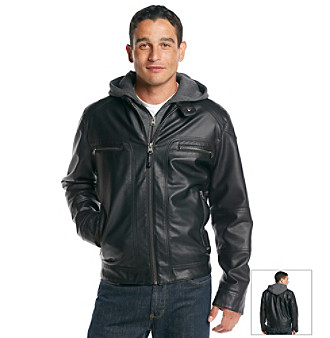 Calvin klein men's leather moto jacket with hoodie