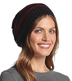 Steve Madden Knit Metallic Stripe Slouchy Hat