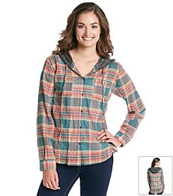 Love on Tap Plaid Button Down With Knit Hood