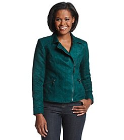 Laura Ashley® Petites' Faux Suede Moto Jacket