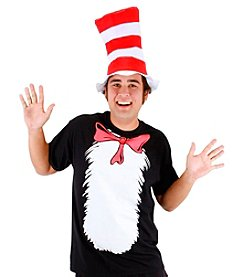 Cat in the Hat T-Shirt and Hat Adult Costume