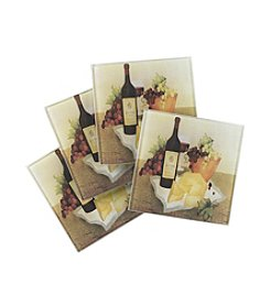 LivingQuarters Wine & Cheese 4-pk. Coasters