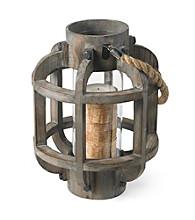 Ruff Hewn Wooden Lantern