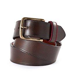 Tommy Hilfiger® Men's Brown Ribbon Loop Leather Belt