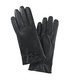 Isotoner® Signature Leather Gloves with Interlocking Knot