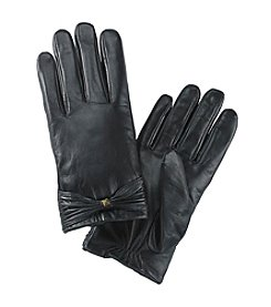 Isotoner® Signature Leather Gloves with Bow & Stud - Black