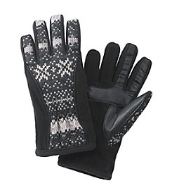 Isotoner® Signature smarTouch® Black Matrix Nylon Gloves with Piping