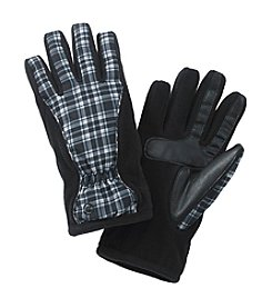 Isotoner® Signature smarTouch® Black Plaid Matrix Nylon Gloves with Piping