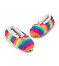 Fuzzy Babba® Assorted Blue Rainbow Stripe with Pink Bow Slippers