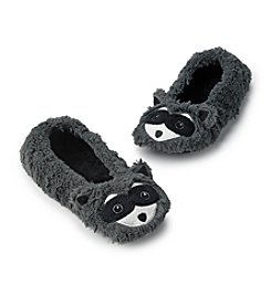 Fuzzy Babba® Furry Gray Critter Racoon Slippers