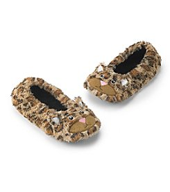 Fuzzy Babba® Beige Furry Traditional Critter Leopard Slippers