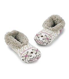 Fuzzy Babba® Zebra Print Teddy Fur Slippers