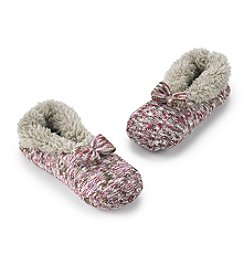 Fuzzy Babba® Marled Teddy Fur Slippers with Bow
