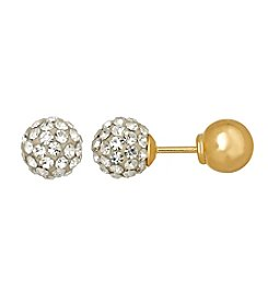 Crystal Ball Stud Earrings in 14K Yellow Gold