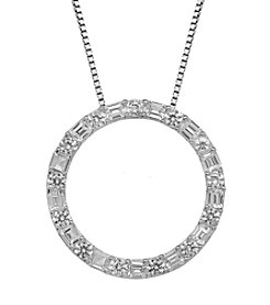 Created White Sapphire Circle Pendant Necklace in Sterling Silver