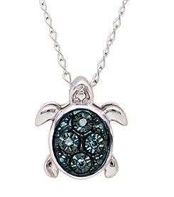 0.013 ct. t.w. Blue Diamond Turtle Pendant Necklace in Sterling Silver