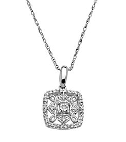 .10 ct. t.w. Diamond Square Filigree Pendant in Sterling Silver