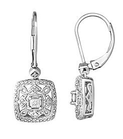 0.10 ct. t.w. Diamond Square Filigree Earrings in Sterling Silver