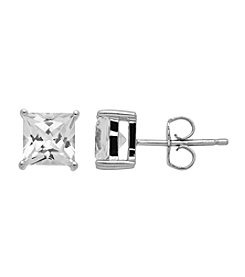 Created White Sapphire Stud Earrings in Sterling Silver
