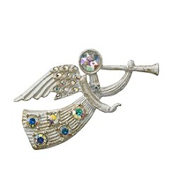 Holiday White & Goldtone Angel Pin with Ab Stones