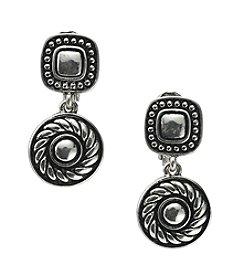 Napier® Antiqued Silvertone Clip Drop Earrings