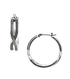 Napier® Antiqued Silvertone Pierced Hoop Earrings