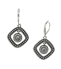 Napier® Antiqued Silvertone Drop Pierced Earrings with Glass Stone Accent