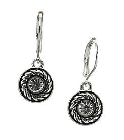 Napier® Antiqued Silvertone Small Drop Patterned Earrings