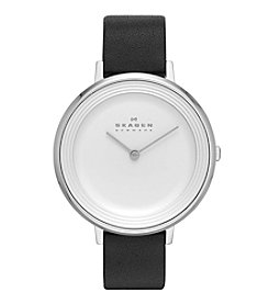 Skagen Denmark Women's Silvertone Ditte Watch with White Dial & Black Leather Strap