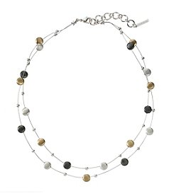 Nine West® Tri-Tone Double Row Illusion Necklace