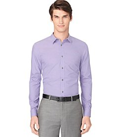 Calvin Klein Men's Purple Long Sleeve Micro Check Poplin Shirt