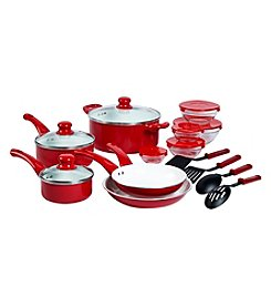 Basic Essentials 17-pc. Red Aluminum Cookware Set