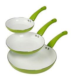 Basic Essentials 3-pc. Green Ceramic Fry Pan Set