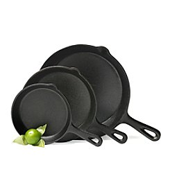 Basic Essentials 3-pc. Cast Iron Fry Pan Set