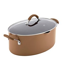Rachael Ray® Cucina 8-qt. Mushroom Brown Hard Enamel Nonstick Covered Oval Pasta Pot with Pour Spout