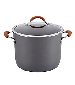 Rachael Ray® Cucina 10-qt. Gray with Pumpkin Orange Handles Hard-Anodized Nonstick Covered Stockpot