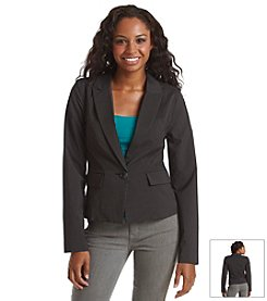 XOXO® Pinstripe Trapunto Suiting Jacket
