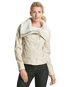 GUESS Faux Leather Asymetrical Zip Moto Jacket