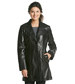 Anne Klein® Leather Walker With Notch Collar And Seaming