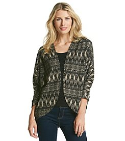 Black Rainn® Patterned Open Cardigan